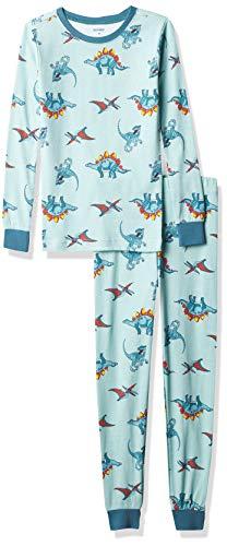 Petit Lem boys Pl Sleep Boy 2pc Pj Set: L/S Top + Pant Knit Pajama Set, 606 Lt.turquoise, 7 Years US