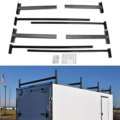 Riwful Adjustable Roof Ladder Racks Fit for 4'-7' Wide Enclosed Trailers Cargo Vans Trucks or Pickups