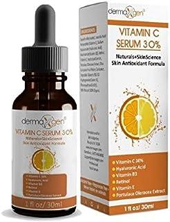 dermaXgen 30% Vitamin C Serum for Face,Hyaluronic Acid & Vitamin E - Natural & Organic Anti Wrinkle & Skin Rejuvenator Moi...