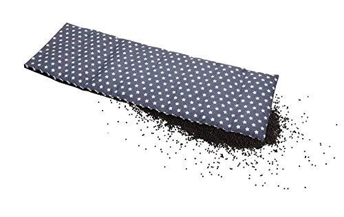 Aminata Balance Körnerkissen 60x20 cm Mikrowelle groß für Nacken, Schulter & Rücken Raps-Samen-Körner-Kissen Wärme-Kissen - graue Sterne - Stern-Motiv Damen, Frauen & Mädchen - abnehmbarer Bio-Bezug