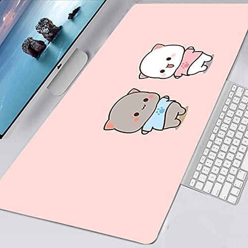 Peach Mochi Cat Pad Mouse Alfombrilla de ratón para Juegos Juego XL Alfombrilla de ratón Gamer Escritorio de computadora Alfombrilla 3D Alfombrilla de ratón Pc Color 2 (15X35in)