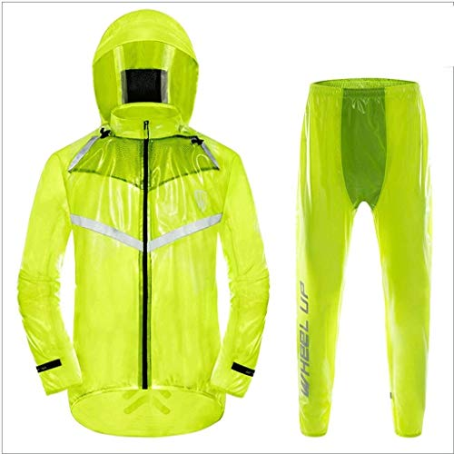 YDS SHOP Mannen Regenjas (regenjas + regenbroek), Zwaar gewicht Waterdicht/Stofdicht/Hoge Transparantie, Outdoor Riding Mountainbike Essentiële Set S Fluorescence upgrade