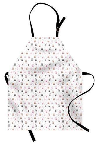 VinMea Nursery Apron, Cartoon Style Rabbit Heads on Backdrop Ornamented Along Ethnic Motifs, Unisex Kitchen Bib with Adjustable Neck for Cooking Gardening, Adult Size, White and Multicolor