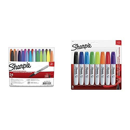 Sharpie 75846 Permanent Markers, Fine Point, Assorted Colors, 24-Count & 38250PP Permanent Markers, Chisel Tip, Assorted Colors, 8-Count