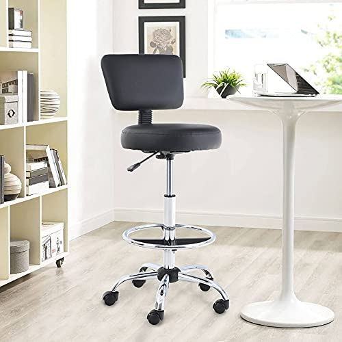 Sophia & William Office Chair Drafting Chair Swivel Round Rolling Stool Adjustable Desk Chair Mid Back Ergonomic Computer Chair with Wheels for Standing Desk, Salon, Medical, Office, Black