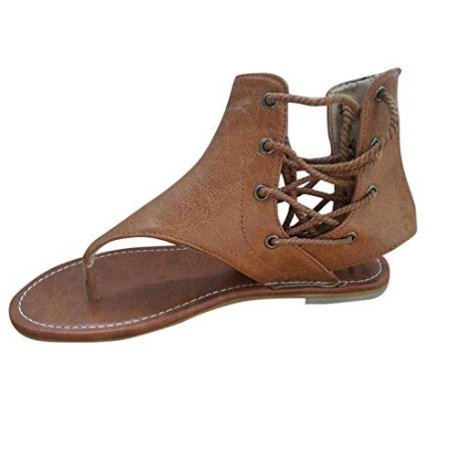 Zehentrenner in 3 Farben für Damen, FEITONG Frauen Römer Flachen Sandalen Riemchensandalen Ankle Straps Schuhe Badeschuhe Sommer Schuhe (EU:38/Etikettengröße 39, Gelb)