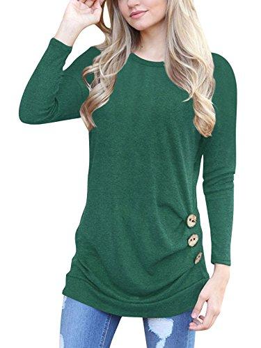 Elegante ronde hals pullover casual tuniek T-shirt top lange mouwen voor sport en vrije tijd