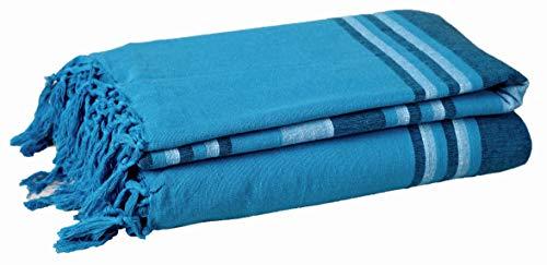 Natürliche Baumwolle Strukturierte Kerala Pattern Stripe Throw Kerala Für Sofa Arm Chair Tagesdecke Sofa Throw - 220 x 250 cm, Riesengröße - Blaugrün