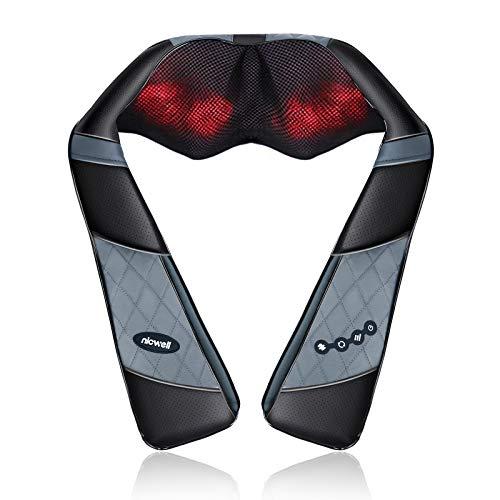 Schulter Massagegerät Elektrisch mit Wärmefunktion - NICWELL Shiatsu Nackenmassagegerät für Nacken Rücken Schulter Fuß Beine mit 3D-Rotation Massage Einstellbaren Geschwindigkeiten für Haus Büro Auto
