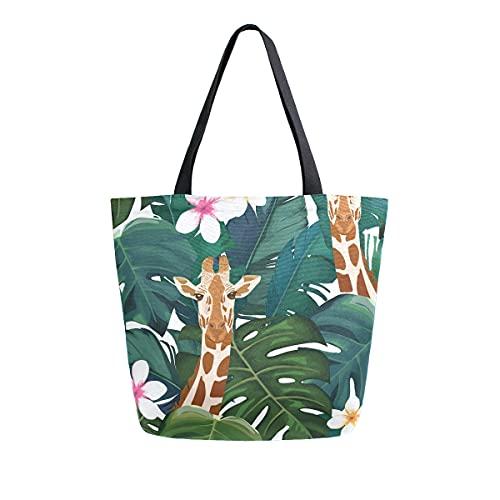 Bolsa de lona de verano con diseño de jirafa para mujer, grande, reutilizable, para la escuela, adolescentes, niñas, profesor de playa, de viaje