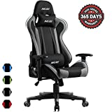 Muzii PC Gaming Chair for Pro,4-Color Choice Breathable SOFTKNIT Fabric Racing Style Ergonomic Adjustable Computer Chair for Office or Game with Headrest and Lumbar Pillow for Adults and Teens (Grey)