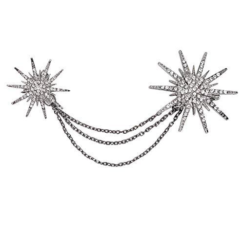Broche elegante con cadenas colgantes, accesorios para el cuello Broche Insignia Abrigo...
