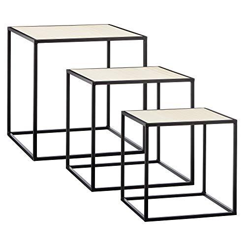 Cepewa Juego de 3 mesas auxiliares en diseño industrial de metal con tableros de madera de 35 cm/40 cm/45 cm