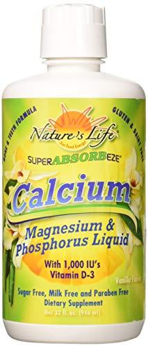 Nature's Life Calcium Magnesium Phosphorus Liquid Supplement With Vitamin D3, Super Absorbeeze, Vanilla | Bone Strength & Cardiovascular Health | 32oz