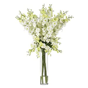 Nearly Natural 1224-WH Delphinium Silk Flower Arrangement, White,11″ x 11″ x 42″
