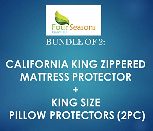 Bundle - 2 Items: California King Zippered Mattress Protector + King Waterproof Zippered Pillow Protectors (2PC)
