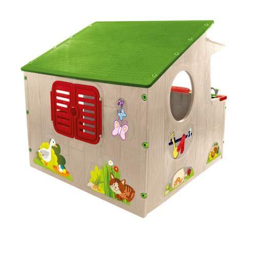 Mochtoys 11392 Spielhaus 139 x 118 x 120 cm, Küche, Fenster, drinnen, draußen