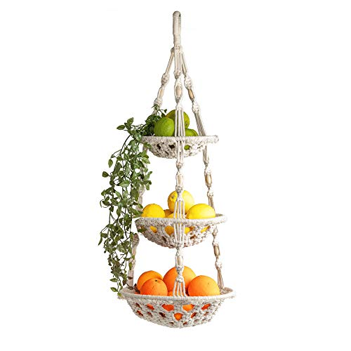 Kiki's Living - Cesta de fruta colgante de 3 niveles en estilo boho, cesta de fruta de macramé, cesta colgante tejida - cesta decorativa de frutas - decoración de cocina bohemia