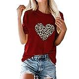 FAQIAN Camiseta de manga corta para mujer con estampado de leopardo, con estampado de corazones, cuello redondo, camiseta de verano con estampado, blusa suelta para el día a día, monocolor Rojo 1 S
