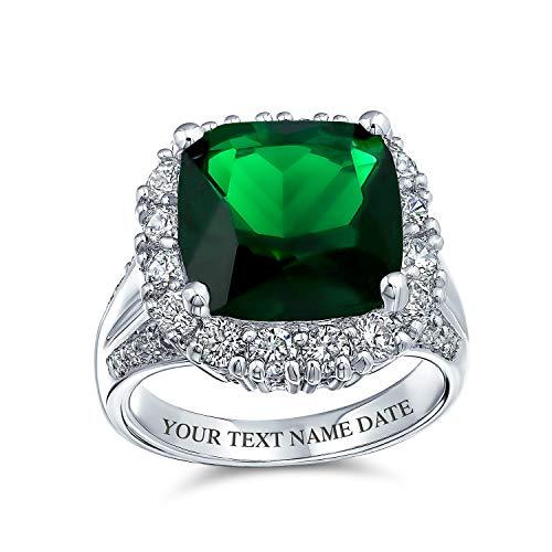 Bling Jewelry 7CT Cubic Zirconia Green Simulato Smeraldo Taglio Smeraldo Moda CZ Cuscino Taglio Statement Anello per Donna Argento Placcato Ottone