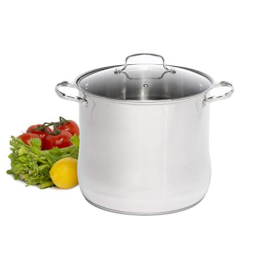 Laroma Stainless Steel Stock Pot/Stockpot with Tempered Glass Steam Vented Lid, 16 Quart