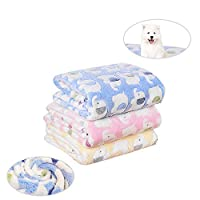 laamei 3 Pack Fleece Dog Bed Throw Blanket, Warm Cute Pet Crate Couch Cover Blankets for Small and Medium Dogs Puppy Cats Elephant Print Kitten Soft Warm Blanket Medium (3224 Inches,3 Colors)