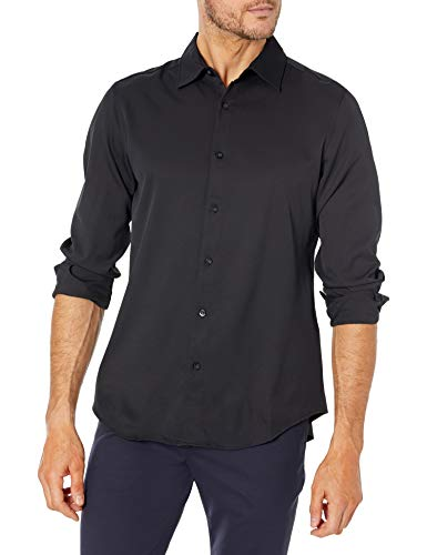 AXIST Men's Long Sleeve Slim Fit Solid Poly Str Shirt, Black, X Large