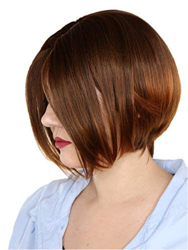 Prettyland Perruque lisses et mats comme des cheveux humains Raide Droite Courte Bob Brun-Noir C1430