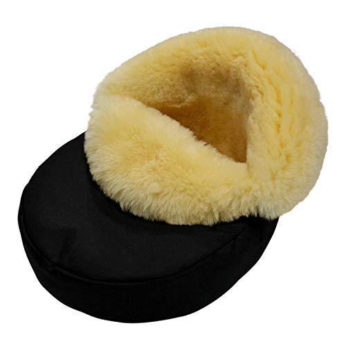 Lamsvacht - voetenvachtje behaaglijk Merino schapenvacht natuurbont zwart/geel