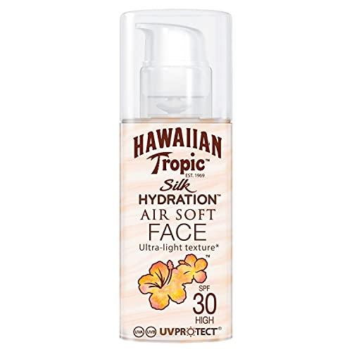 HAWAIIAN Tropic Silk Hydration Air Soft Face Spf 30 - Loción Solar Protectora para el Rostro, Crema Hidratante Facial con Protección, Blanco, Fresh, 50 Mililitros