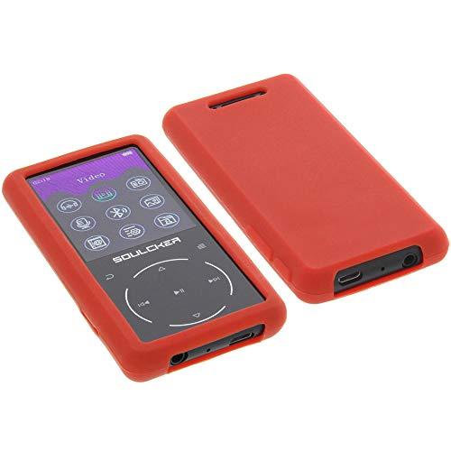 foto-kontor Hülle für Soulcker MP3 Player 16GB Tasche Silikon Schutzhülle Gummi rot