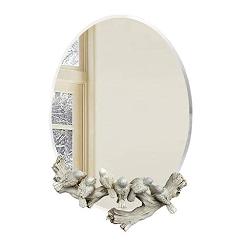 Household Necessities/spiegel vogel gesneden tent kinderkamer spiegel zilver waterdicht badkamer halfronde spiegel 41*60CM Wit