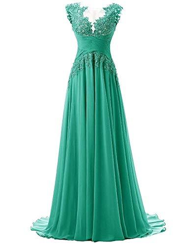 Abendkleider Lang A-Linie Ballkleider Brautjungfernkleider Spitzen Hochzeitskleid Empire Festkleider Grün 48