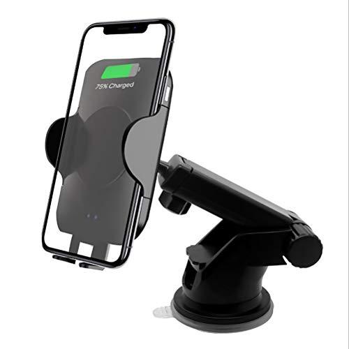 Knowoo Cargador rápido inalámbrico para automóvil Soporte para teléfono para automóvil Sensor infrarrojo para iPhone XS MAX XR X 8 Plus Samsung Galaxy Note 9 S9 S8 Cargador de automóvil QI rápido