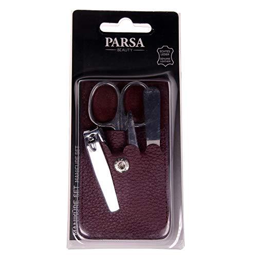 PARSA Beauty Maniküre-Set 4-teilig Etui aus echtem Leder in lila ideal für unterwegs