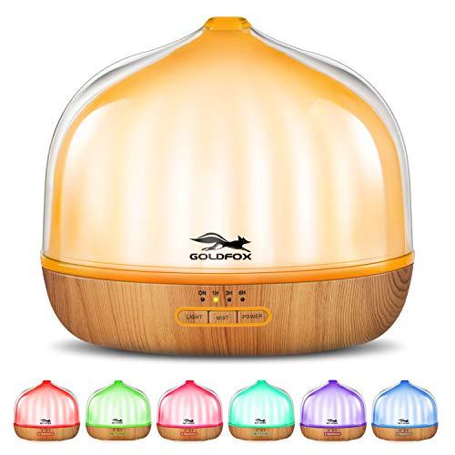 Aroma Diffuser 500 ml,GOLDFOX Diffuser Ultraschall Doppelschalen Nachtlicht Duftöl Diffuser,mit 7 Farben LED,Aromatherapie 35-40ml/h Nebelmenge für Raum,für Raum,Büro,Yoga,Spa,usw.