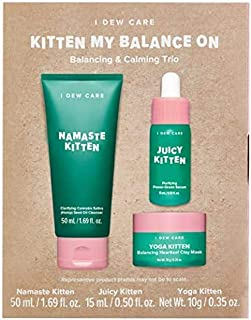 I DEW CARE Kitten My Balance On I Serum, Foam Cleanser, Wash-off Mask Set | Korean Skincare Facial Treatment Gift | Vegan, Cruelty-free, Gluten-free, Paraben-free