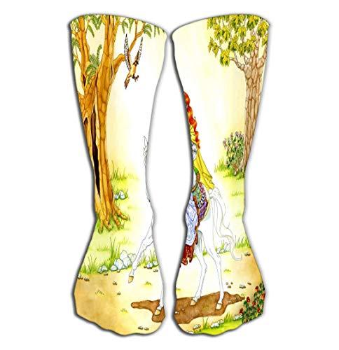 SDFGSE Women's Girls Novelty Over Calf Knee High Socks Funny Boot Sock Elven Lady White Horse Color
