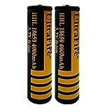 18650 Batería de Litio Recargable 3.7V 4000mAh Baterías de botón de Gran Capacidad para Linterna LED, iluminación de Emergencia, Dispositivos electrónicos, etc. 2/4 Piezas (Amarillo + Negro) (2 pcs)