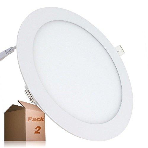 Placa LED 20W Circular SuperSlim (Pack 2) Downlight LED Empotrado Blanco Frío 6000K-6500k 1800 Lúmenes ONSSI LED