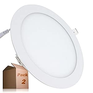 Placa LED 20W Circular SuperSlim (Pack 2) Downlight LED Empotrado Φ225mm Blanco Frío 6000K-6500k 1800 Lúmenes ONSSI LED