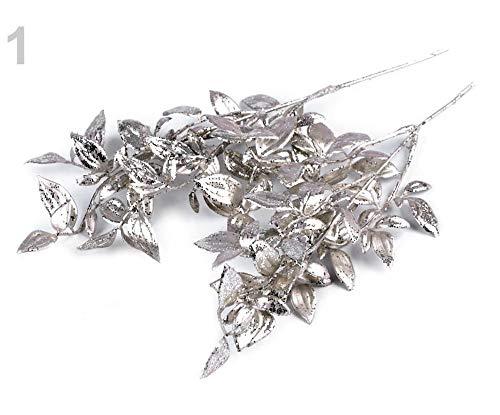 2pc, 1 Silber-beige Weihnachten Zweig Mit Glitter, Blumenschmuck, Blumen, Pflanzen Und Früchte, Dekorationen