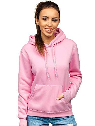 BOLF Damen Sweatshirt Classic Sweater Pulli Kapuzenpullover Langarmshirt Rundhalsausschnitt Farbvarianten Crew Neck Longsleeve Fitness Motiv Sport J.Style W02 Rosa M [A1A]