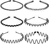 6 Pcs Élastique Ondulés Spring Wave Bandeau Cheveux, Multi-Style Noir Antidérapant Métal Cerceau De Cheveux,Sport Unisexe Serre Tete Accessoires pour Femmes et Hommes.