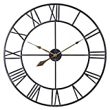 30 Inch Oversized Industrial Metal Wall Clock, Vintage Distressed Black Roman Analog Timepiece, Silent Battery Operated Indoor Wall Clock for Living Room