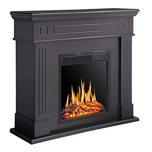 R.W.FLAME Electric Fireplace Mantel Wooden Surround Firebox, Freestanding Corner Fireplace, Home Space Heather, Adjustable Led Flame, Remote Control,750W/1500W, Black Décor Dining electric Features Fireplaces Home Kitchen