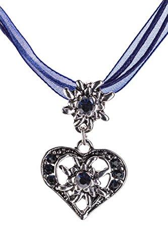 Trachtenkette elegantes Herz mit Strass und Edelweiss in vielen Farben - Anhänger Trachtenschmuck Kette für Dirndl und Lederhose Damen (Sapphire)