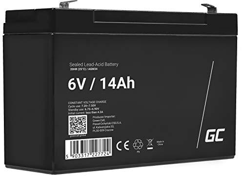 Green Cell® AGM 6V 14Ah Akku VRLA Blei-Batterie Bleiakku Ersatzakku Gelakku Akkubatterie Zyklenfest Unbemannt Spielzeug | Elektro Spielzeug| Alarm | Notstrom | Kinderfahrzeuge| Kinder-Quad