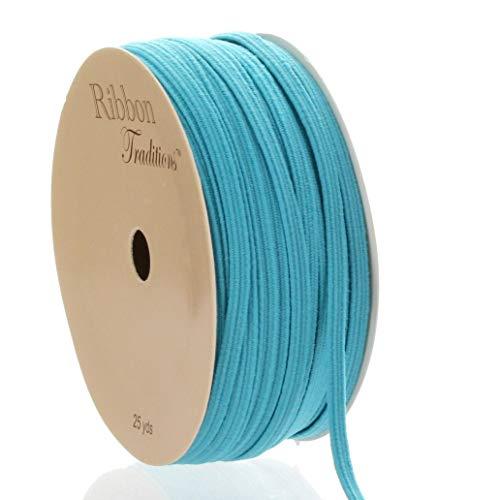 1/8' Width Skinny Elastic Band - Braided Cord - Turquoise 5 Yards - USA Warehouse