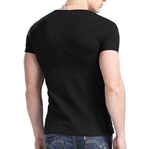 Xudian Short Sleeves Men T-shirt Crew-neck, US Size: Small, Asian Size: Large (Black)